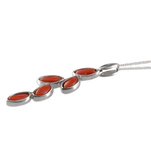 Mediterranean Coral (Mrq) 5 Stone Pendant With Chain in Platinum Overlay Sterling Silver 2.250 Ct.