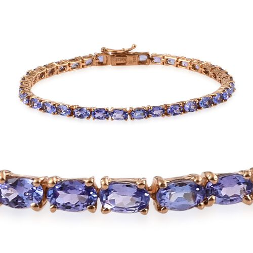 AA Tanzanite (Ovl) Tennis Bracelet (Size 7) in 14K Gold Overlay Sterling Silver 9.250 Ct.