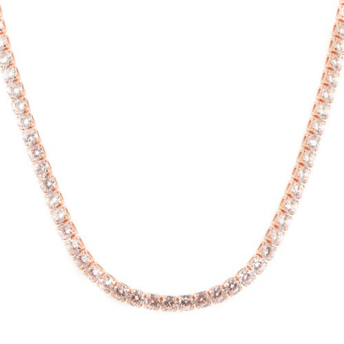 Close Out Deal - AAA Simulated Diamond (Rnd) Tennis Necklace (Size 18) in Rose Gold Bond