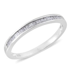 Diamond (Bgt) Ring in Platinum Overlay Sterling Silver 0.200 Ct.