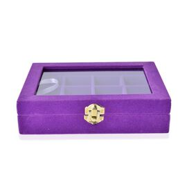Purple Colour 12 Sections Jewellery Organiser with Latch Closure (Size 20x15x4.5 Cm)