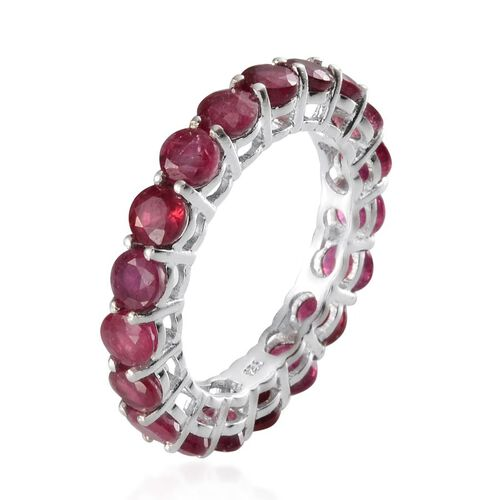 African Ruby (Rnd) Full Eternity Ring in Platinum Overlay Sterling Silver 7.000 Ct.