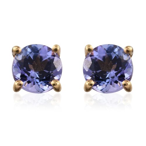 Tanzanite 1 Carat Silver Stud Earrings in 14K Gold Overlay (with Push Back)