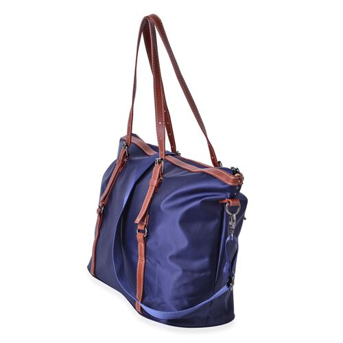 Classic Navy Large Weekend Tote Bag with Adjustable and Removable Shoulder Strap (Size 45X35.5X27X15 Cm)