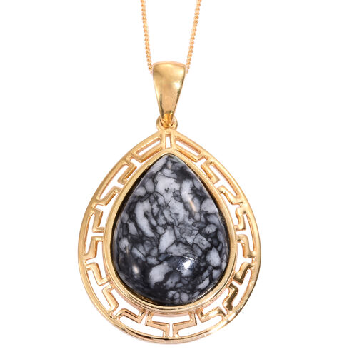 Austrian Pinolith (Pear) Pendant with Chain in 14K Gold Overlay Sterling Silver 13.000 Ct.