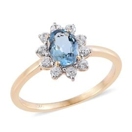 9K Yellow Gold 1.25 Carat AA Santa Maria Aquamarine Halo Ring with Natural Cambodian Zircon