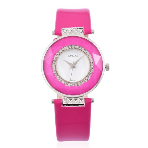 STRADA Japanese Movement White Austrian Crystals Studded White Dial Water Resistant Watch in Silver Tone with Stainless Steel Back and Fuchsia Colour Strap