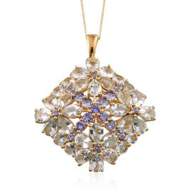 Espirito Santo Aquamarine (Pear), Tanzanite Floral Pendant With Chain in 14K Gold Overlay Sterling Silver 11.750 Ct.