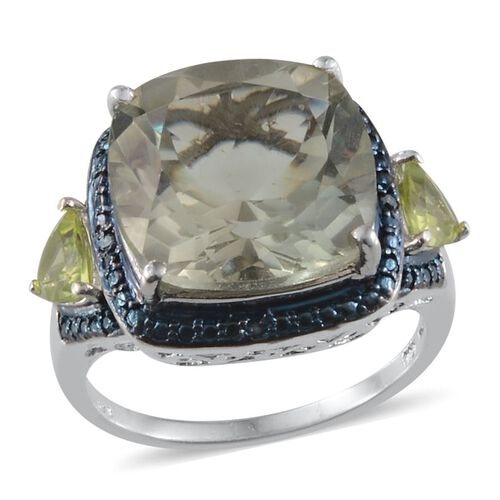 Green Amethyst (Cush 9.00 Ct), Hebei Peridot and Blue Diamond Ring in Platinum Overlay Sterling Silver 9.770 Ct.