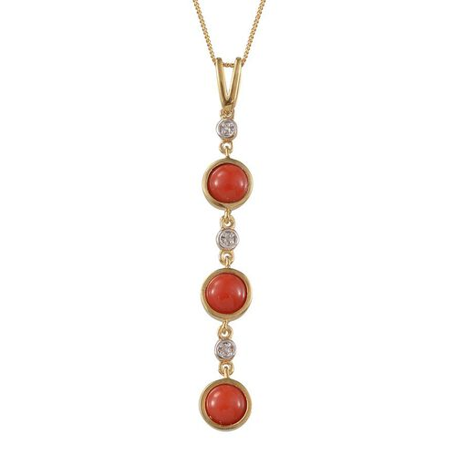 Natural Mediterranean Coral (Rnd), Diamond Pendant With Chain in 14K Gold Overlay Sterling Silver 2.270 Ct.
