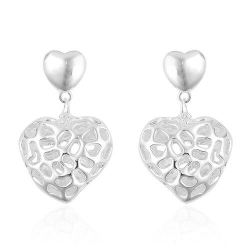 RACHEL GALLEY Sterling Silver Amore Heart Lattice Earrings (with Push Back), Silver wt 6.73 Gms.
