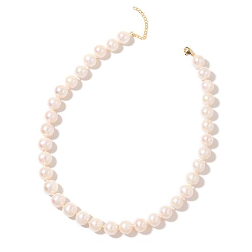 Exclusive Edition-ILIANA 18K Y AAAA  Gold Fresh Water White Pearl (12mm-13mm) Necklace (Size 18 with 2 inch Extender)