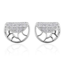 J Francis - Platinum Overlay Sterling Silver (Rnd) Stud Earrings (with Push Back) Made with SWAROVSKI ZIRCONIA