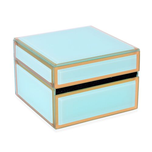 Home Decor - Green Colour Glass Box (Size 12X12X8.5 Cm)