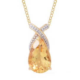 Citrine (Pear 15x10mm) Criss Cross Pendant with Chain in 14K Gold Overlay Sterling Silver 4.750 Ct. Silver wt 5.00 Gms.