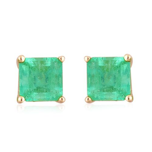 ILIANA 18K Y Gold AAA Boyaca Colombian Emerald (Oct) Stud Earrings (with Screw Back) 1.000 Ct.