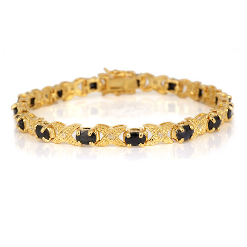 Boi Ploi Black Spinel (Ovl), Diamond Bracelet (Size 7.75) in Gold Bond 6.600 Ct.