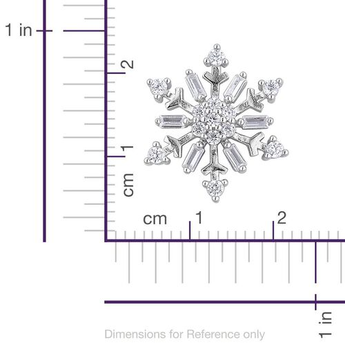 ELANZA AAA Simulated White Diamond Snowflake Pendant in Rhodium Plated Sterling Silver