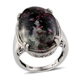 Natural Russian Eudialyte (Ovl) Solitaire Ring in Platinum Overlay Sterling Silver 11.500 Ct.
