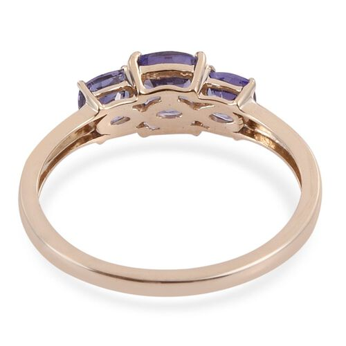 14K Y Gold Tanzanite (Cush 0.75 Ct) 3 Stone Ring 1.500 Ct.