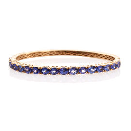 4.46 Ct Tanzanite Bangle in Gold Plated Silver 19.40 gms 8 Inch