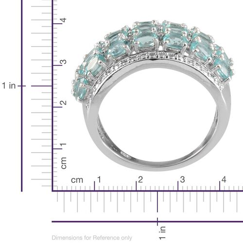Paraibe Apatite (Ovl), Diamond Cluster Ring in Platinum Overlay Sterling Silver 2.760 Ct.
