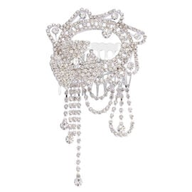Simulated White Diamond and White Austrian Crystal Hair Comb in Silver Tone