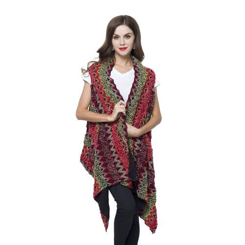 New Arrival - Italian Designer Inspired Red, Green and Multi Colour Zigzag Pattern Longline Poncho (Free Size)