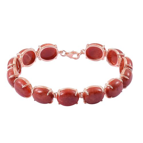 Red Jade (Ovl) Bracelet (Size 7.5) in Rose Gold Overlay Sterling Silver 71.000 Ct. Silver wt 7.80 Gms.