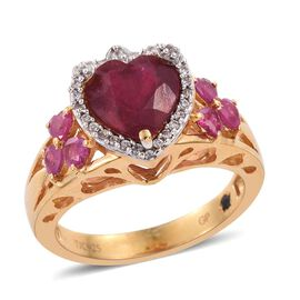 GP African Ruby (Hrt 3.60 Ct), Burmese Ruby, Kanchanaburi Blue Sapphire and Natural Cambodian Zircon Ring in 14K Gold Overlay Sterling Silver 4.500 Ct.
