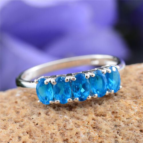Malgache Neon Apatite (Ovl) 5 Stone Ring in Platinum Overlay Sterling Silver 1.250 Ct.