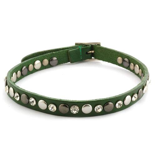 Green Leather, White Austrian Crystal Studded Reversible Wrap Bracelet in Silvertone ( (Size 8)
