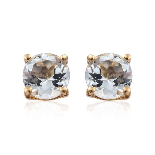 Espirito Santo Aquamarine (Rnd) 0.75 Carat Silver Stud Earrings in 14K Gold Overlay (with Push Back)