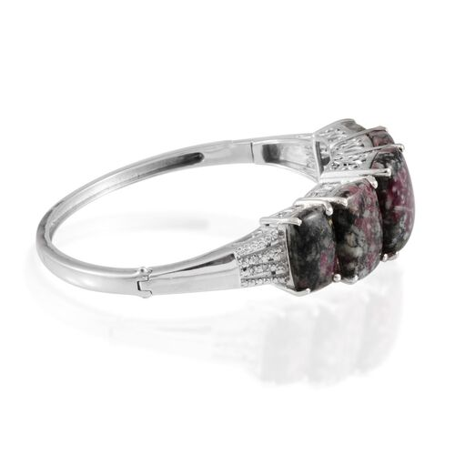 Natural Russian Eudialyte (Cush 7.50 Ct), Diamond Bangle in Platinum Overlay Sterling Silver (Size 7.5) 31.040 Ct.