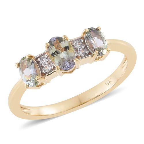 9K Yellow Gold 1.00 Ct AA Natural Green Tanzanite Ring with Natural Cambodian Zircon