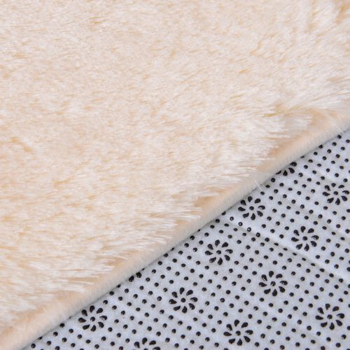 Cream Colour Faux Fur Bathmat (Size 80X50 Cm), Toilet Cover (Size 45X40 Cm) and Contour Mat (Size 50X40 Cm) with Anti Slip Rubber at Back