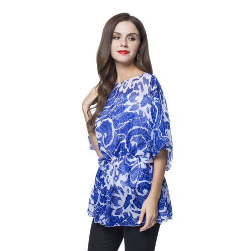 Blue and White Colour Floral Pattern Poncho (Free Size)