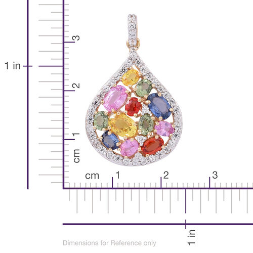9K Y Gold AAA Rainbow Sapphire (Ovl), Natural Cambodian White Zircon Drop Pendant 4.750 Ct.