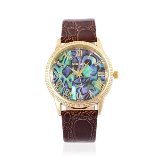 STRADA Japanese Movement Abalone Shell Dial Watch in Gold Tone with Stainless Steel Back and Chocolate Colour Cobble Embossed Strap