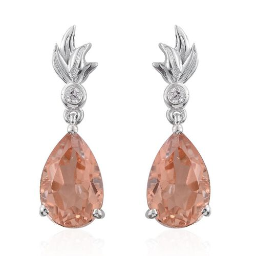 Galileia Blush Pink Quartz (Pear), Natural Cambodian Zircon Earrings (with Push Back) in Platinum Overlay Sterling Silver 6.750 Ct.