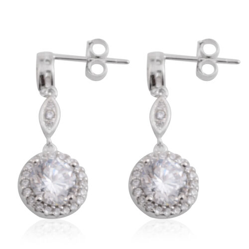 Brilliant Cut ELANZA AAA Simulated Diamond (Rnd) Earrings (with Push Back) in Rhodium Plated Sterling Silver