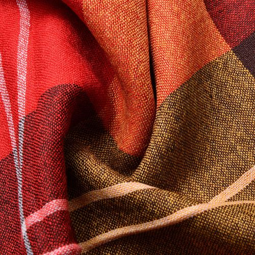 100% Merino Wool Red, Orange and Multi Colour Checks Pattern Scarf with Tassels (Size 180X65 Cm)