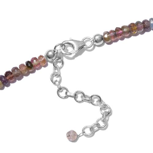 Multi-Tourmaline (Rnd) Featuring Paraiba & Rubellite Beads Necklace (Size 18 with 2 inch Extender) in Sterling Silver 72.900 Ct.