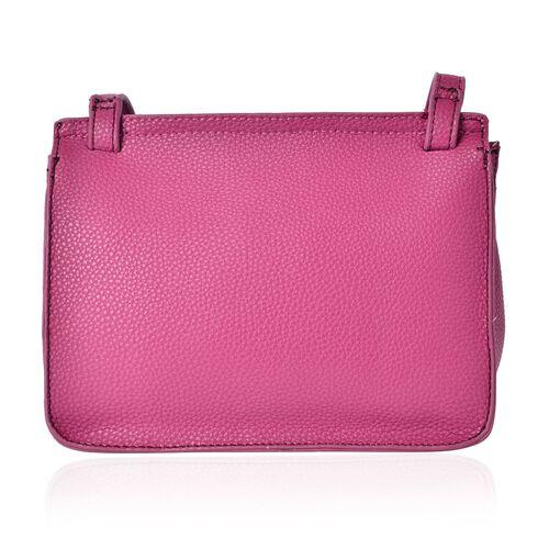 Dark Fuchsia Colour Crossbody Bag with Adjustable Shoulder Strap and Tassels (Size 22.5x18x10 Cm)