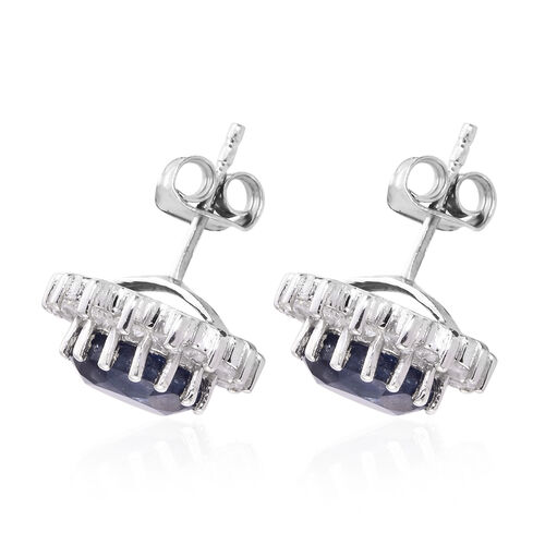 Premium Collection - Designer Inspired Rare Size Masoala Sapphire (Rnd), Natural White Cambodian Zircon Floral Stud Earrings (with Push Back) in Platinum Overlay Sterling Silver 7.500 Ct.