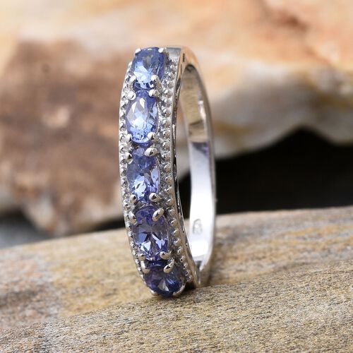 Tanzanite (Ovl) 5 Stone Ring in Platinum Overlay Sterling Silver 1.150 Ct.