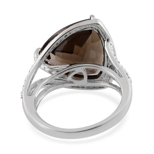 Brazilian Smoky Quartz (Trl 12.75 Ct), Diamond Ring in Platinum Overlay Sterling Silver 12.770 Ct.
