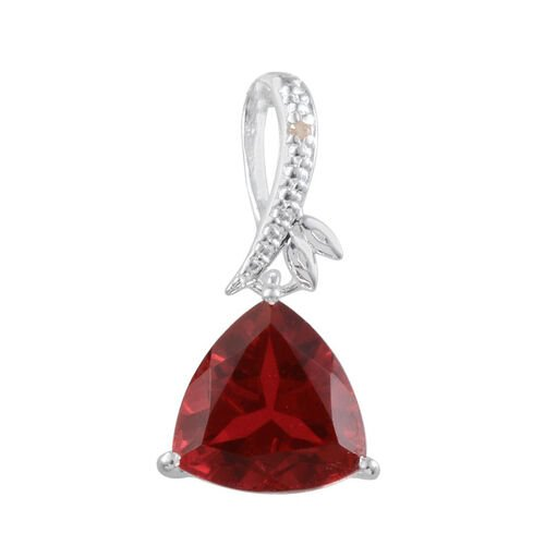 Ruby Quartz (Trl 3.00 Ct), Diamond Pendant in Sterling Silver 3.005 Ct.