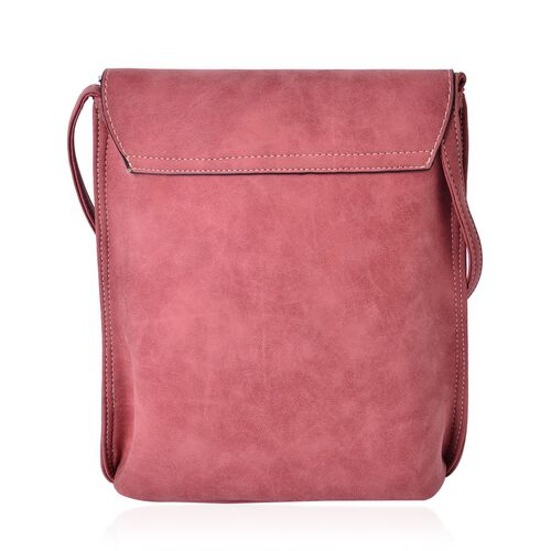 Dark Pink Colour Crossbody Messenger Bag with Fringes and Adjustable Shoulder Strap (Size 25x21x7 Cm)