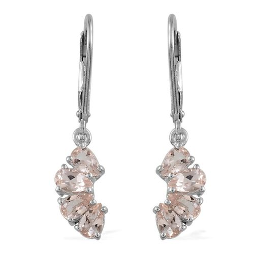 Marropino Morganite (Pear) Lever Back Earrings in Platinum Overlay Sterling Silver 1.400 Ct.